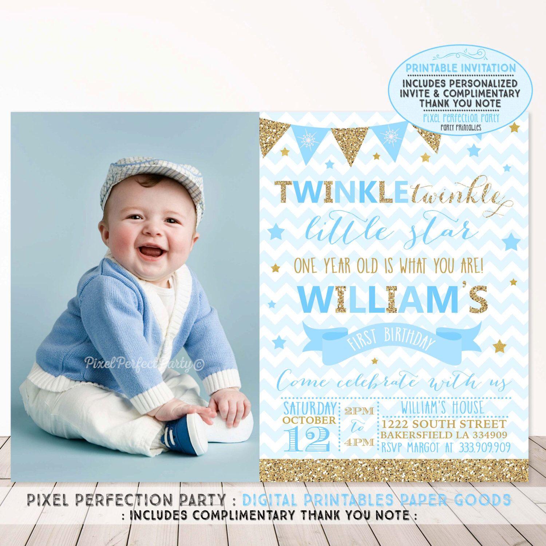 Twinkle Twinkle Little Star Invitation Boys Twinkle Twinkle Little Star Baby Blue Gold Boy Birthday Invitations 1st Birthday Invitations Birthday Invitations