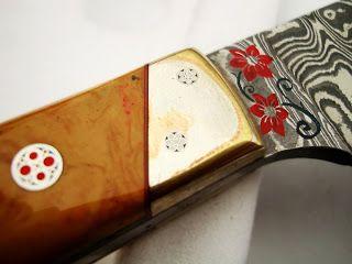Three Tone MOKUME GANE Custom Made Damascus Steel Chef Knife With Damascus Ring