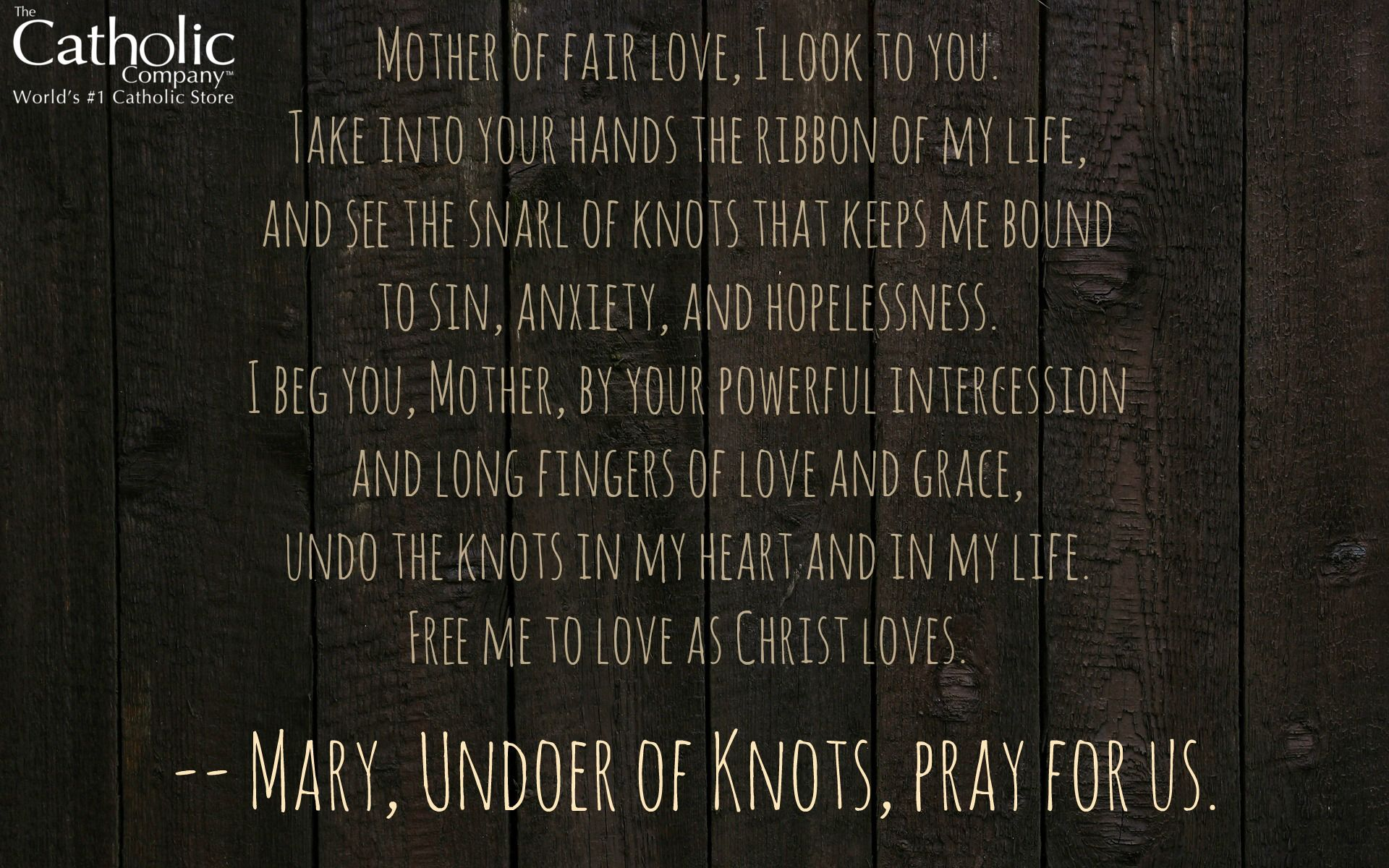 This is the prayer to Mary Undoer of Knots for Personal