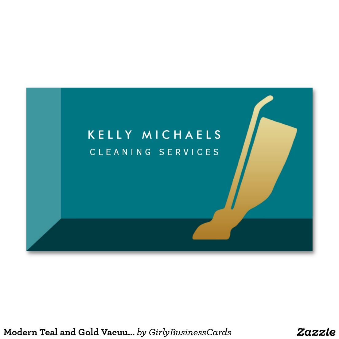 Modern Teal and Gold Vacuum Cleaning Services Double-Sided Standard ...