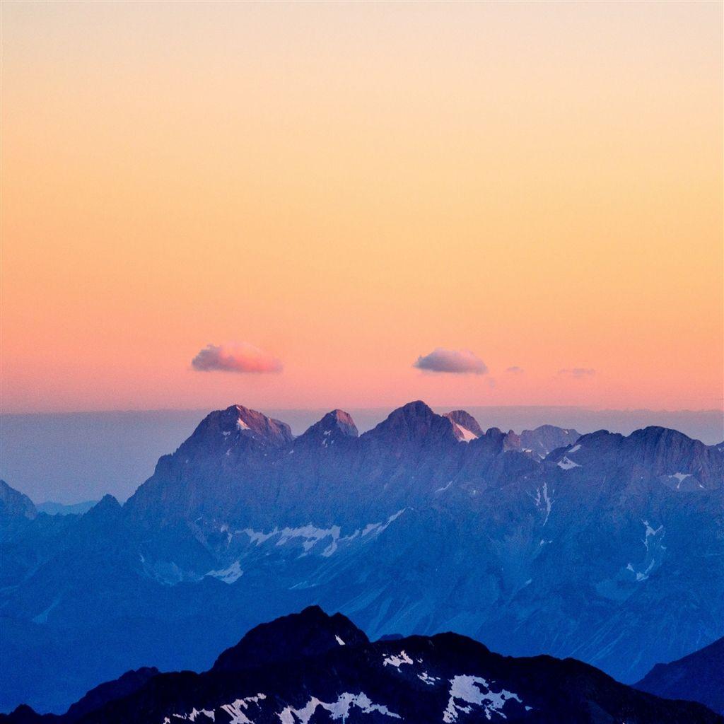 Mountains Fog Sunset Sky Retina iPad Air wallpaper