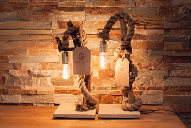 Driftwood Lamp With Rope II. By Glighthouse