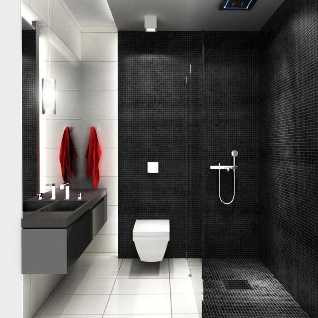 Genial Begehbare Dusche Glaswand Bad Fliesen Schwarz Weiß