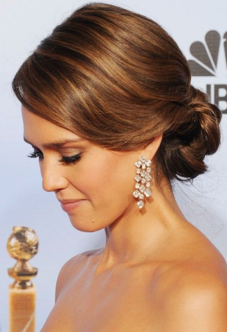 romantic loose updo for wedding from jessica alba | low updo, updo