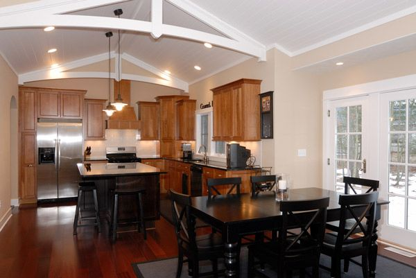 Kitchen, same layout but different cabinets, maybe a sky light