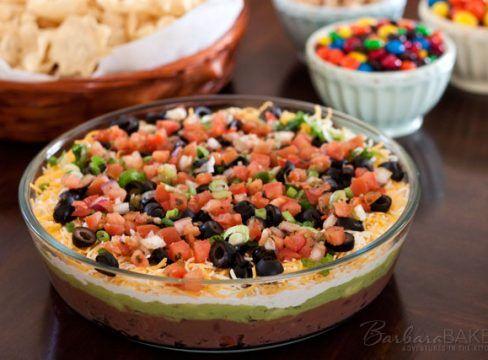 7 Layer Bean Dip Barbara Bakes Recipe Layered Bean Dip 7 Layer Bean Dip Bean Dip