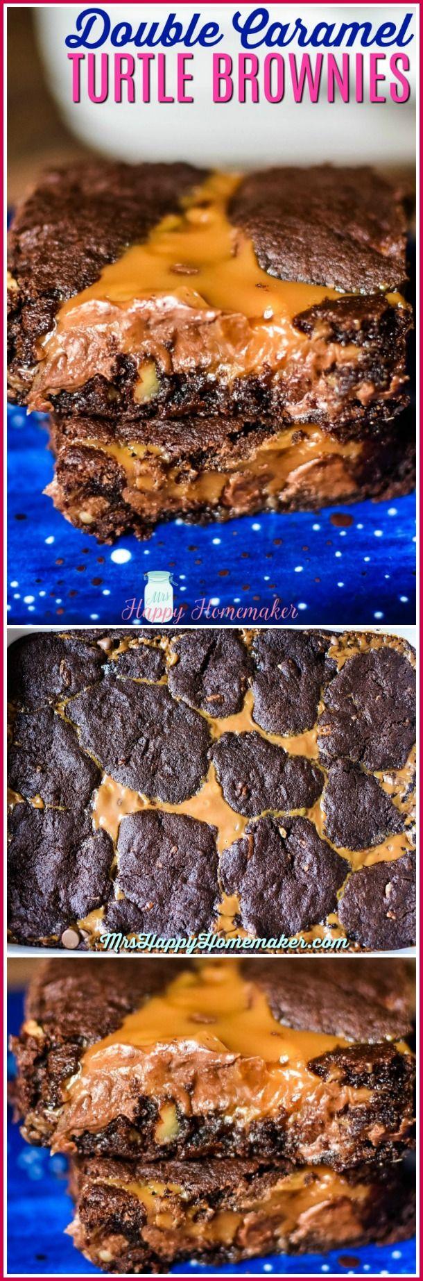 Double Caramel Turtle Brownies - Mrs Happy Homemaker