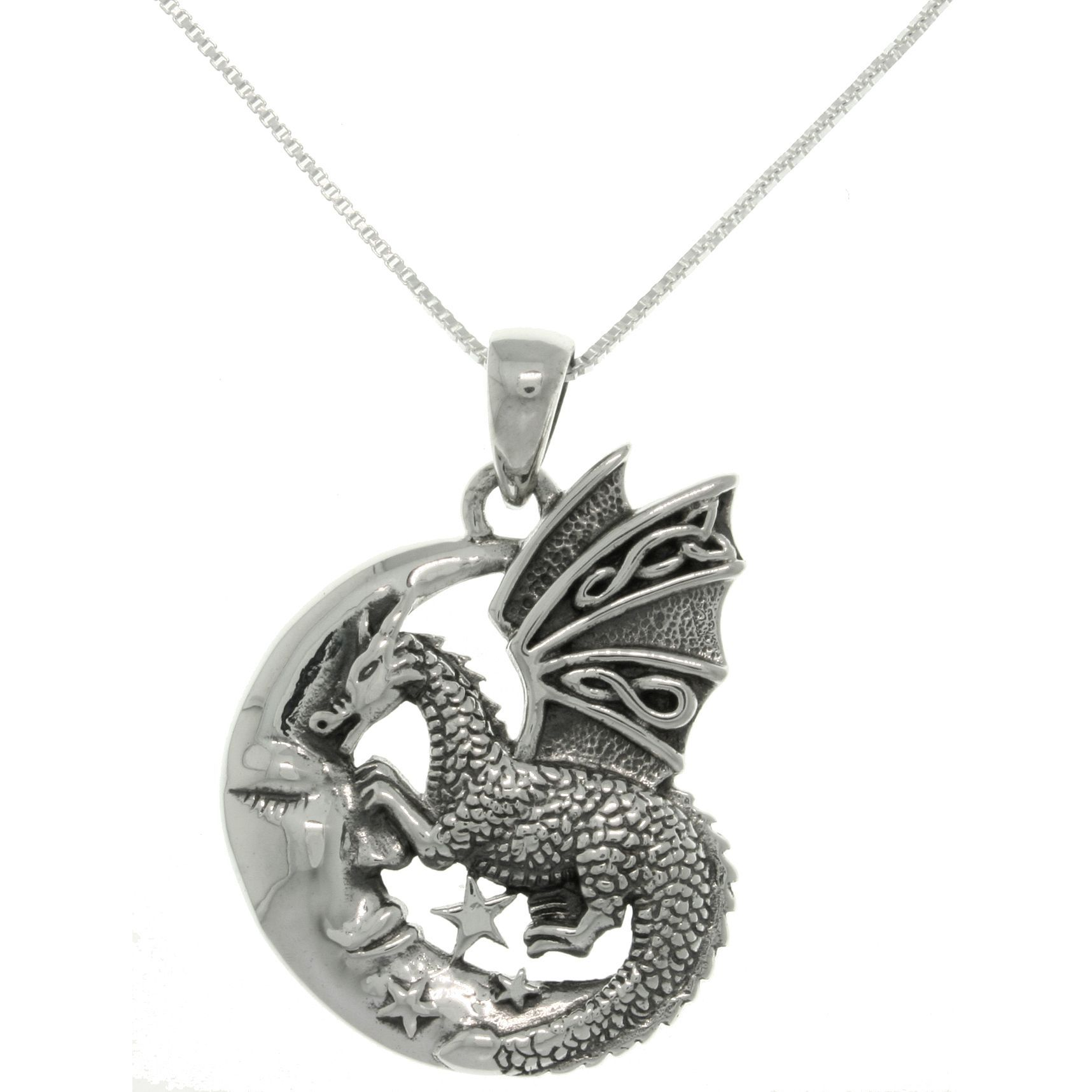 Crafted of fine .925 sterling silver, this pendant from the Carolina Glamour Collection features a dragon and a sleeping crescent moon. This necklace includes an 18-inch box chain with spring ring closure.
