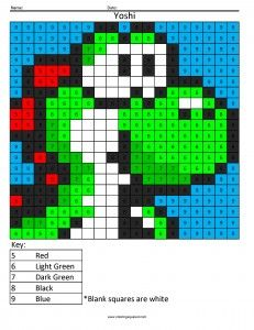 Nintendo Color By Number Graphing Activities Coloring Sheets