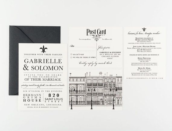 Wedding Invitations New Orleans: Wedding Invitation, Laissez Les Bon Temps Rouler Wedding