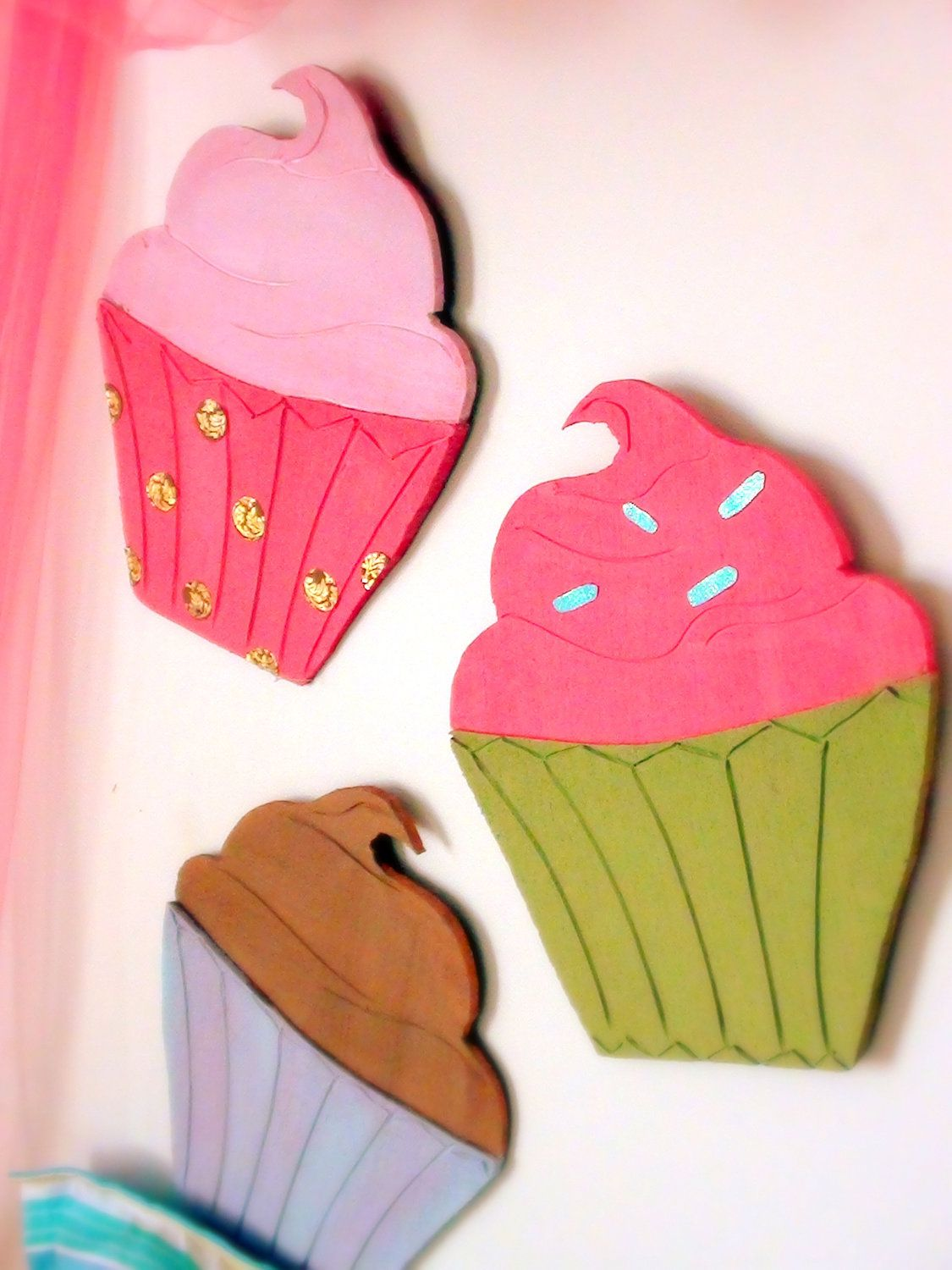 Set Of 3 Large Cupcakes Wall Art By Meandmyroom On Etsy 20 00