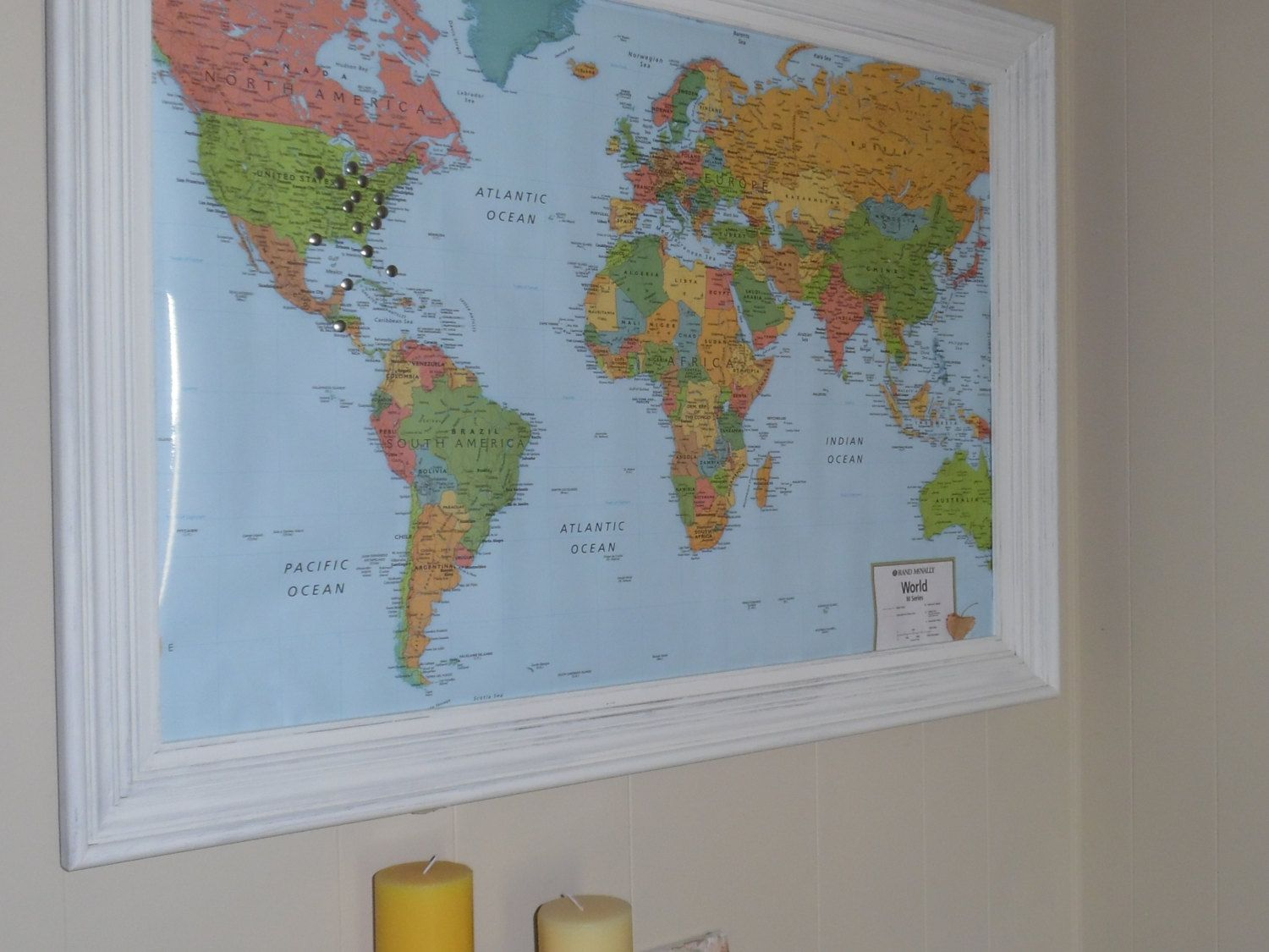 Custom quote world map push pin canvas print world map wall art framed world maps by adrianandleo on etsy gumiabroncs Gallery