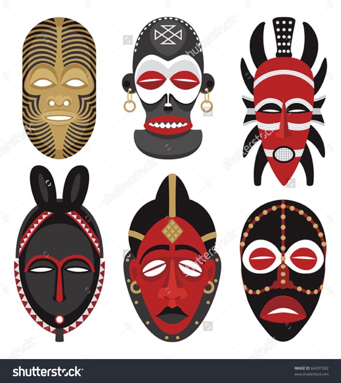 Six African Masks