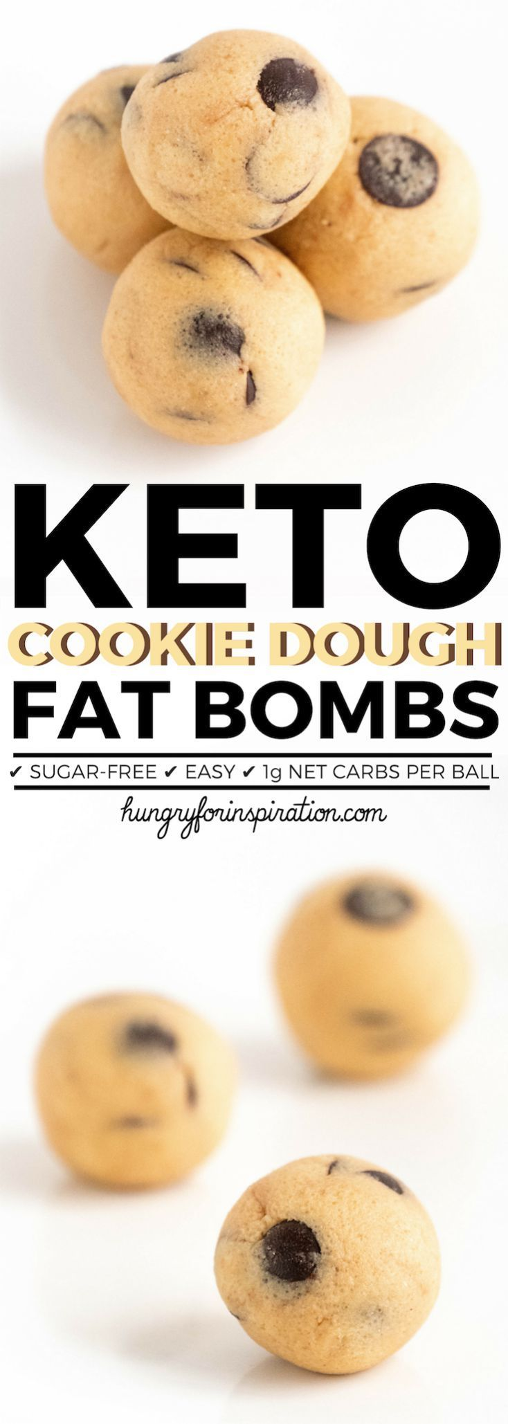 These Cookie Dough Keto Fat Bombs are an incredibly easy Keto Snack that you can make in 10 minutes! Only 1g net carbs per ball, gluten-free & sugar-free! #keto #ketorecipes #ketodiet #ketodessert #ketosnacks #ketogenic #ketogenicdiet #lowcarb #lowcarbrecipes #lowcarbdiet #lowcarbdesserts #lowcarbsnacks #cookiedough #ketosnacks