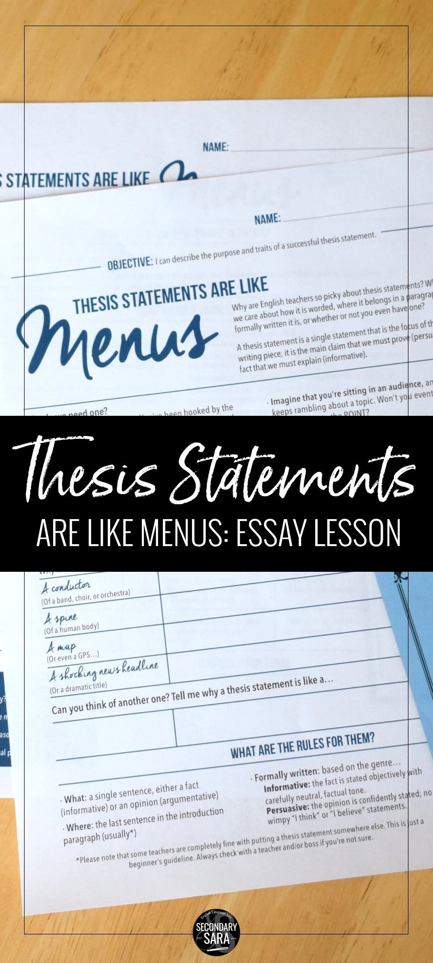 Thesis Statements Are Like Menus Minute Writing Lesson For Any  Thesis Statements Essay Writing Lesson For Middle School Or High School  English