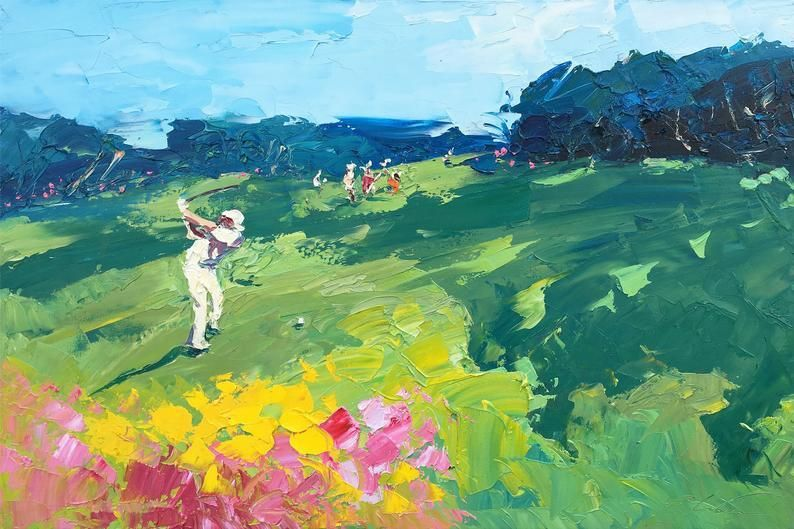 Photo of Golf Painting on Canvas, Original Painting, Golf Art, Landscape Painting, Sport Wall Art, Room Wall Art, Small Painting, Gift for Golfer