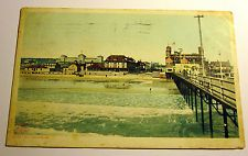 Color Postcard of View of The Beach & Pier in Old Orchard, Maine, 1909 Postmark