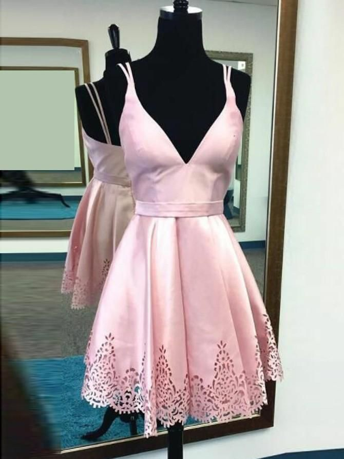 Cute Pink Homecoming Dress Spaghetti Straps Short Prom Dress Party ...