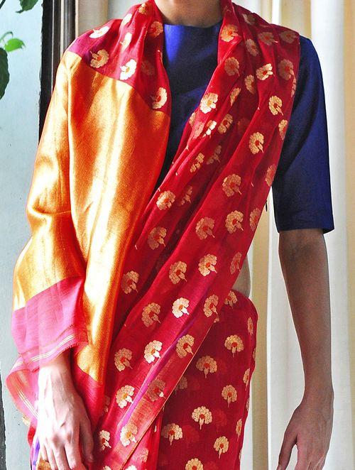 Tanjore Red Cotton Silk Zari Handwoven Saree by Raw Mango