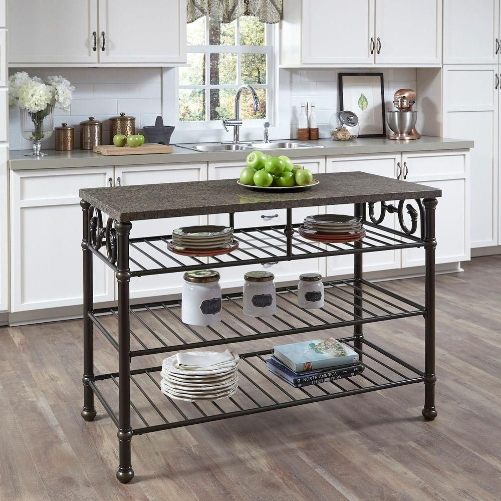 Home Styles Richmond Hill 52 In W Kitchen Island With Veneer Quartz Top 5062 94 The Home Depot Home Styles Metal Kitchen Island Kitchen Utility Tables