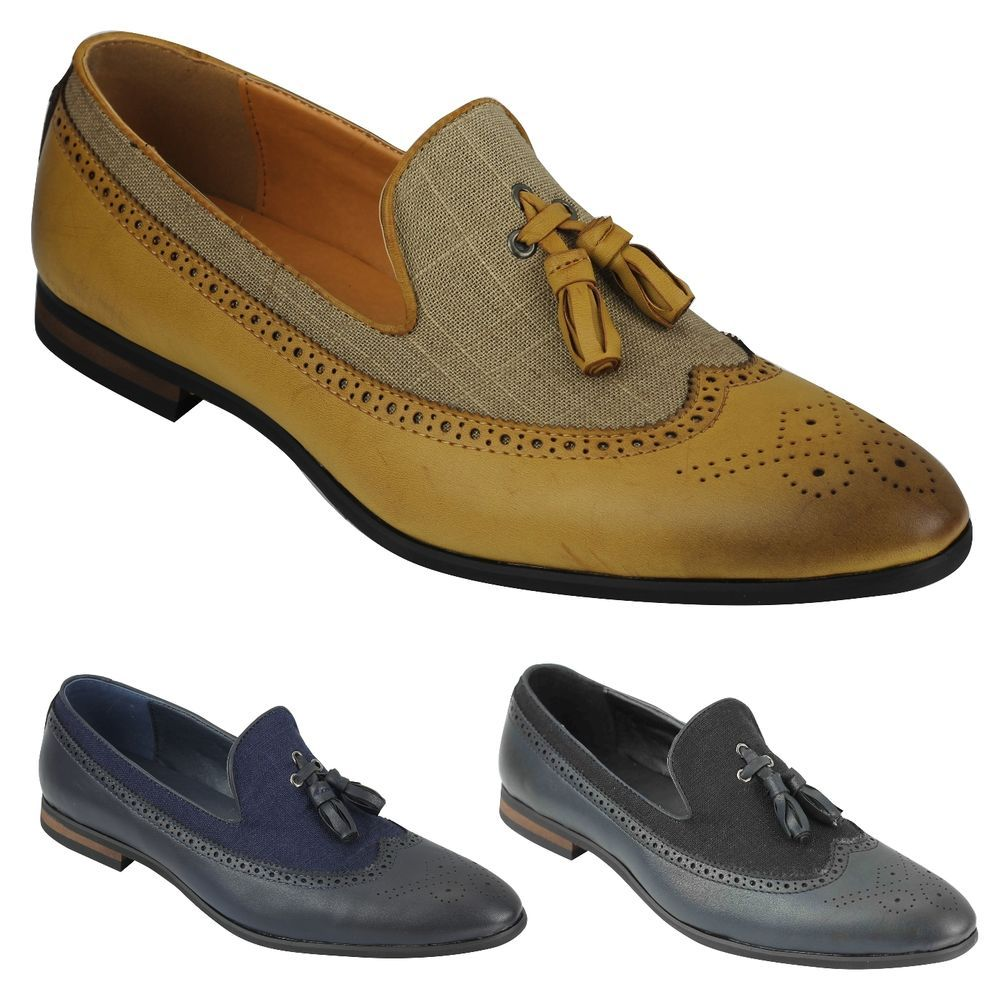 MENS BROWN LACE-UP SMART LOAFERS BROGUES SMART CASUAL WORK WEDDING SHOES 6-11