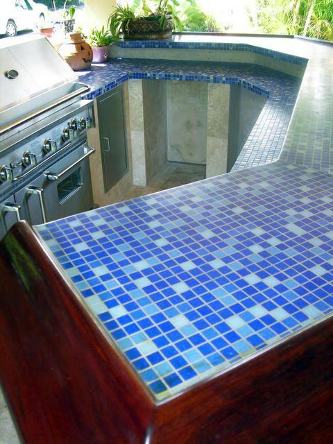 blue mosaic 1x1 kitchen glass tile