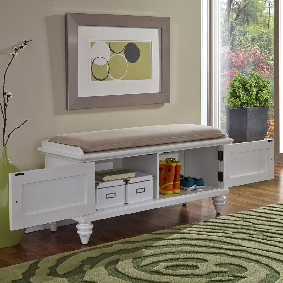 Tremendous Shop Home Styles Bermuda Brushed White Indoor Storage Bench Ocoug Best Dining Table And Chair Ideas Images Ocougorg
