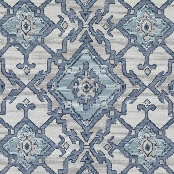 A Modern Ikat Upholstery Fabric In Navy Blue Aqua Pewter Grey