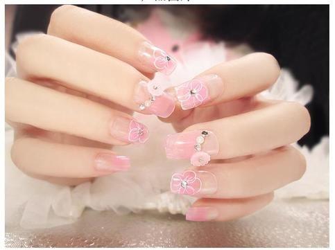 Youarelookingatthisoneofakinddoityourselffakenailsset long hawaiian flower beaded nude pink faux nails glue on solutioingenieria Choice Image