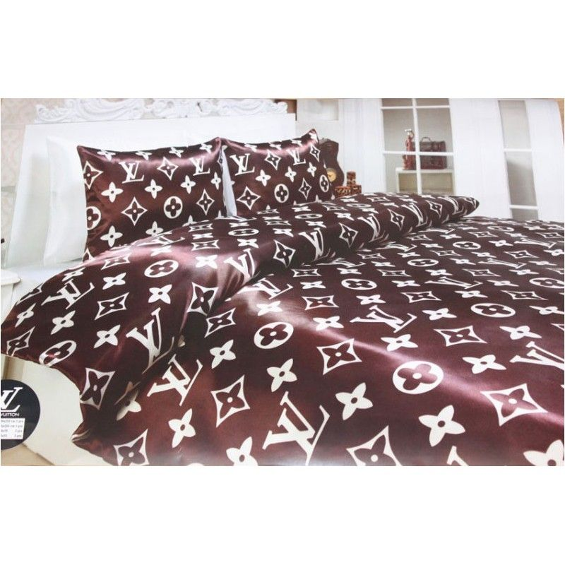 louis vuitton lv bedding g nstig billig preiswert kupfer satin seide bettw sche set 6 teilig. Black Bedroom Furniture Sets. Home Design Ideas