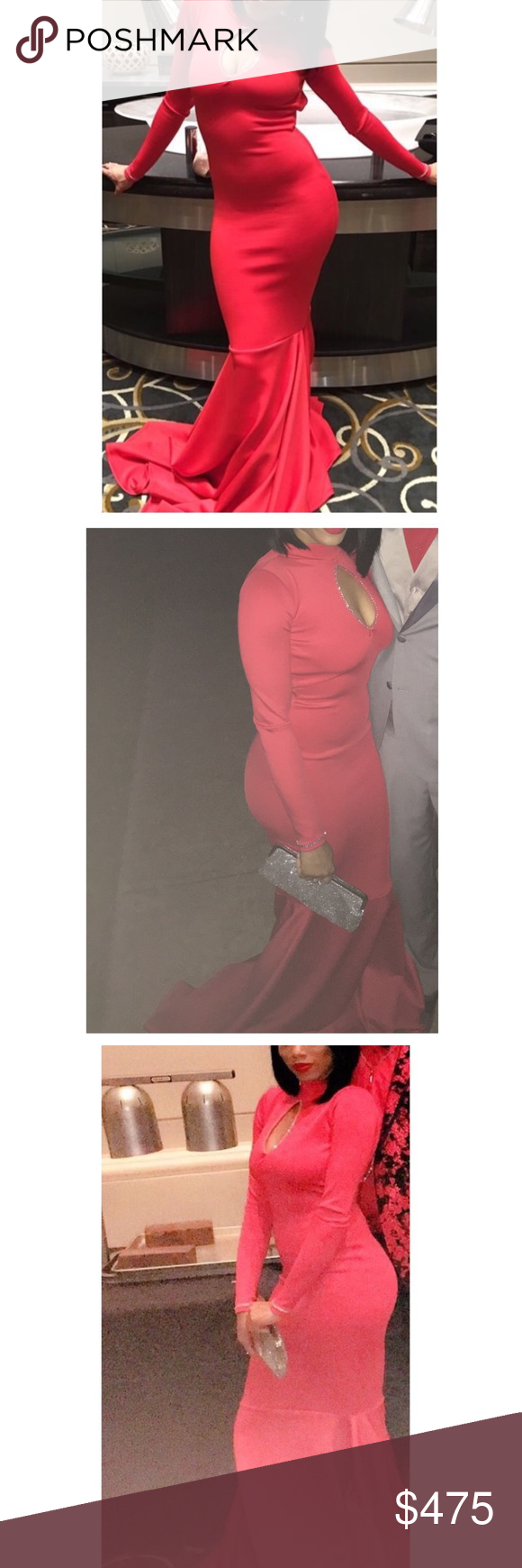 Casual red mermaid custom made dress red long sleeve dress with