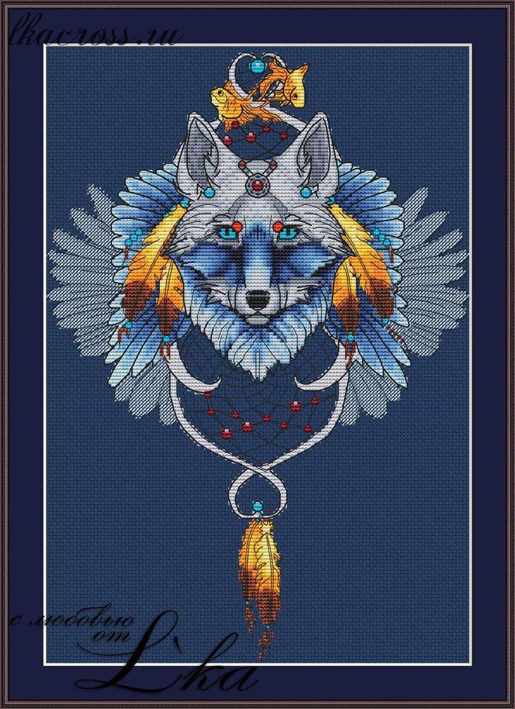 Схема вышивки ловец снов волк