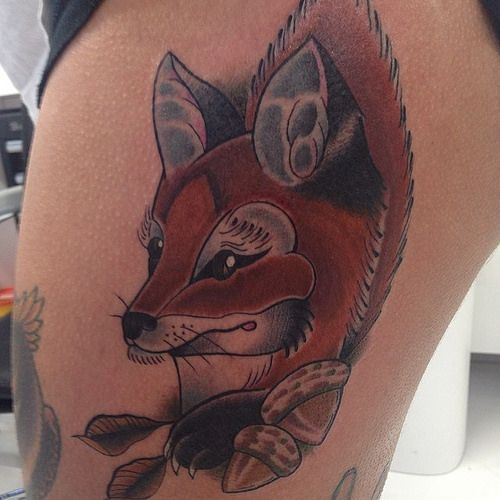 Ollie @olliejacksontattoo completed this fox tattoo on the beautiful @Kristina Labahn #blackandgrey #cheltenham #cooltattoos #cooltattoopost #findyourink #freshlyinked #inkjunkeyz #prestigious #r#spreadtheink #superbtattoos #tattoo #tatmaps #tokyotattoo #t