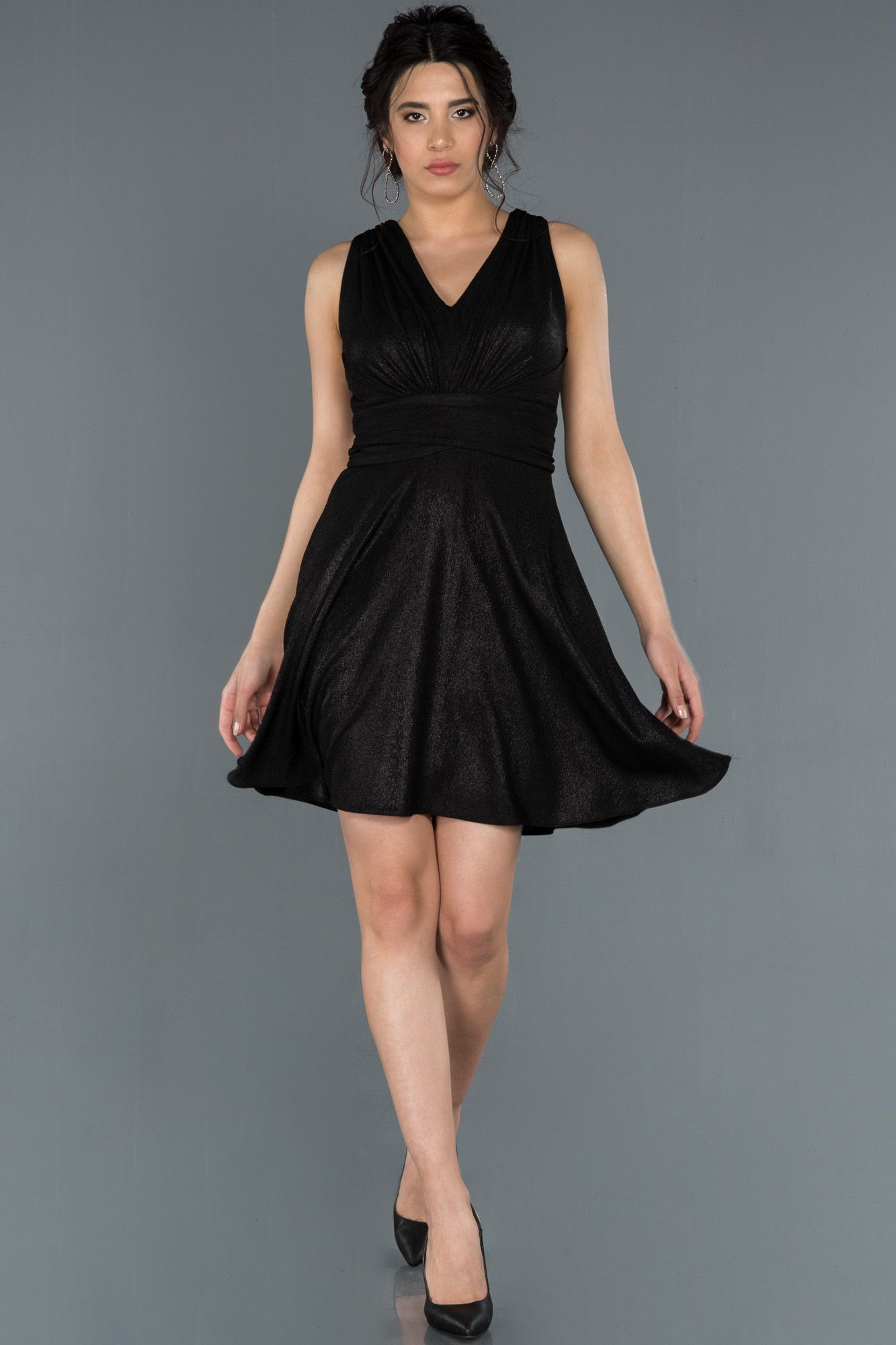 Siyah V Yaka Sirt Dekolteli Simli Abiye Abk786 2020 Moda Stilleri Elbise The Dress