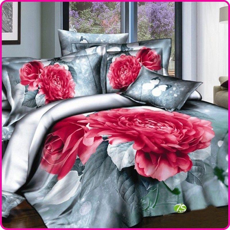 eef8c91e60 Red 3D subiu jogo de cama de cama originais do casamento Queen Size 4 PCS  Cotton