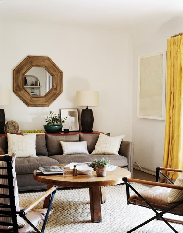 neutral + wood + a hit of yellow // #livingroom