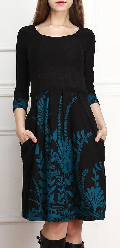 Black & Teal Floral Fit & Flare Dress