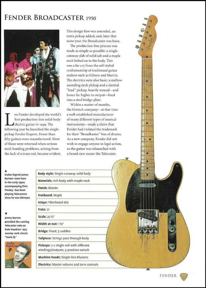 James Burton Fender Broadcaster + Wilko Johnson '51 Telecaster guitar article #Fender #vintageguitars