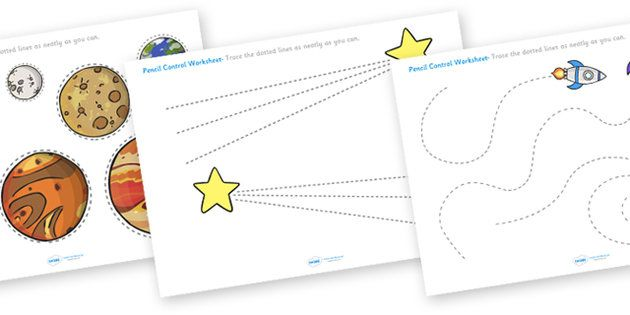 Space Themed Pencil Contol Worksheets
