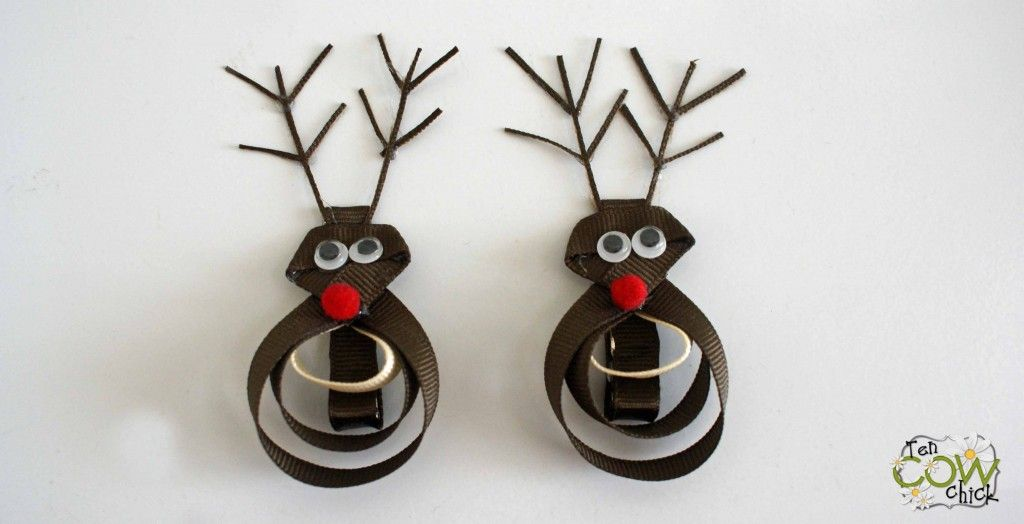 Rudolph Hair Clips I Must Try 3 Tencowchick Her Stuff Is Sooo Easy To Follow Diy Hair Bows Hair Bows Ribbon Sculptures