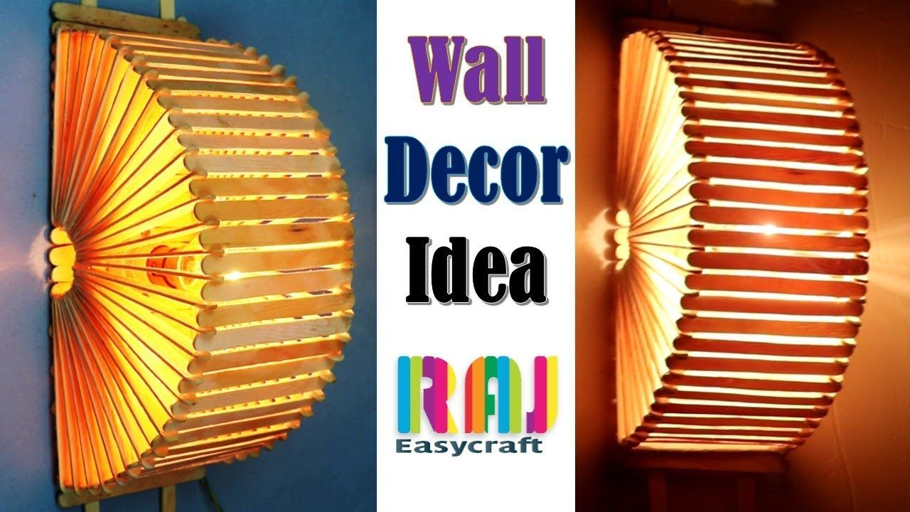 Ice Cream Stick Wall Decor Idea Ice Cream Stick Lamp Popsicle Stic Ice Cream Stick Craft Stick Crafts Christmas Decor Diy