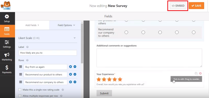 survey forms wp forms