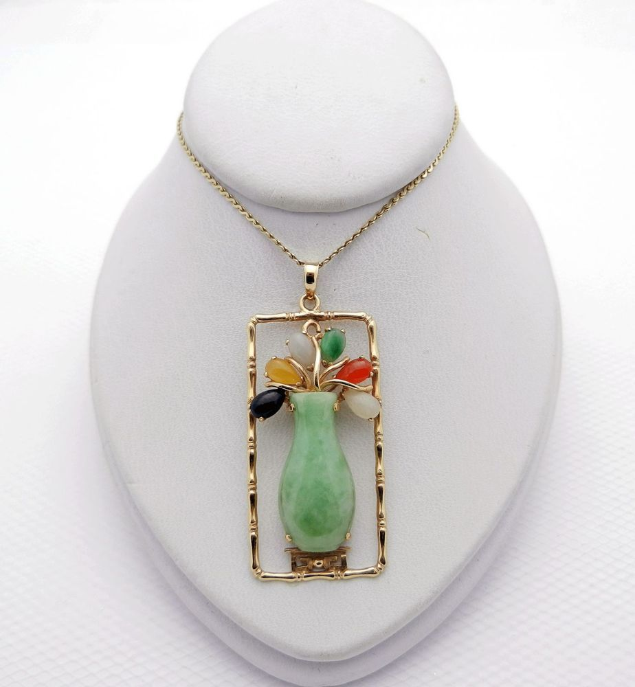 pendant in jade chains donut gold gemstone yellow green dyed