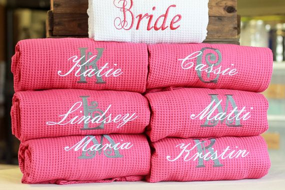 Set Of 6 Waffle Personalized Bridesmaid Bridal Party Robes