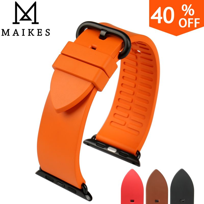 Aliexpress New Fashion Color Orange Fluororubber Rubber Watch Strap For Sports Apple Watch Band 42m Apple Watch Strap Apple Watch Bands Apple Watch Bands 42mm