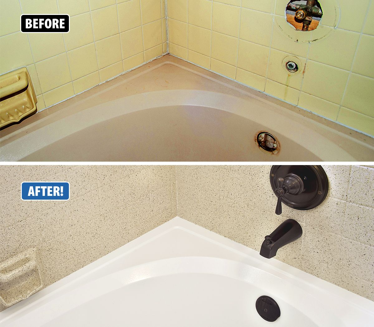 This Tub And Tile Had Seen Better Days In Addition To The Colors Being Outdated It Was Stained The Grout Was C Refinish Bathtub Tub Refinishing Bathroom Tub