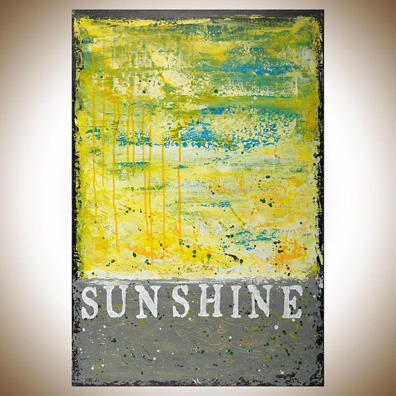 Yellow grey Painting abstract painting Original artwork wall art ...
