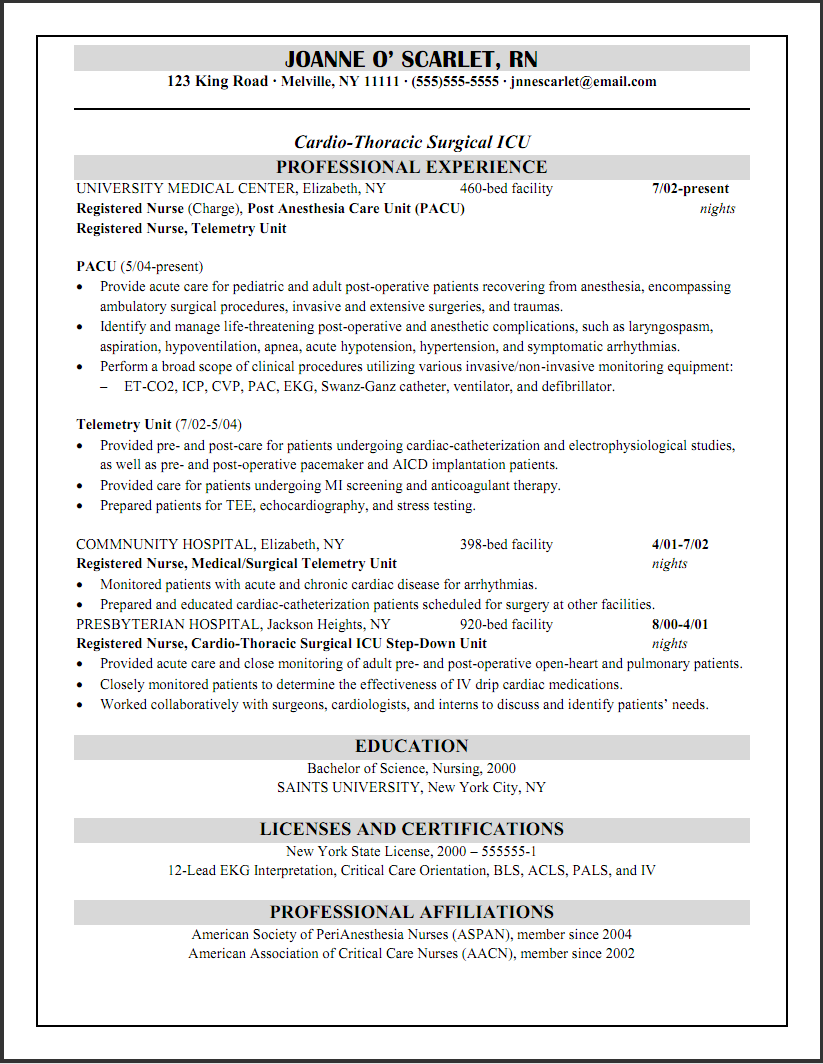 cicu registered nurse resume - Resume Example Nurse