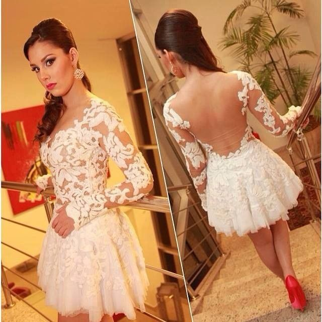 2015 Cute White Lace Jewel Neckline Appliqued Long Sleeve Short ...