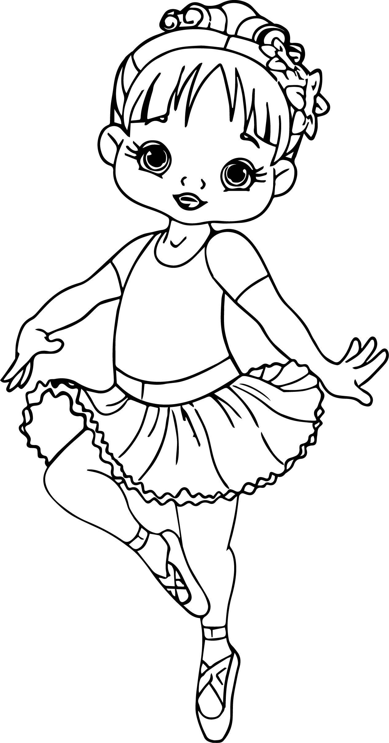 Nice Ballerina Cartoon Girl Coloring Page